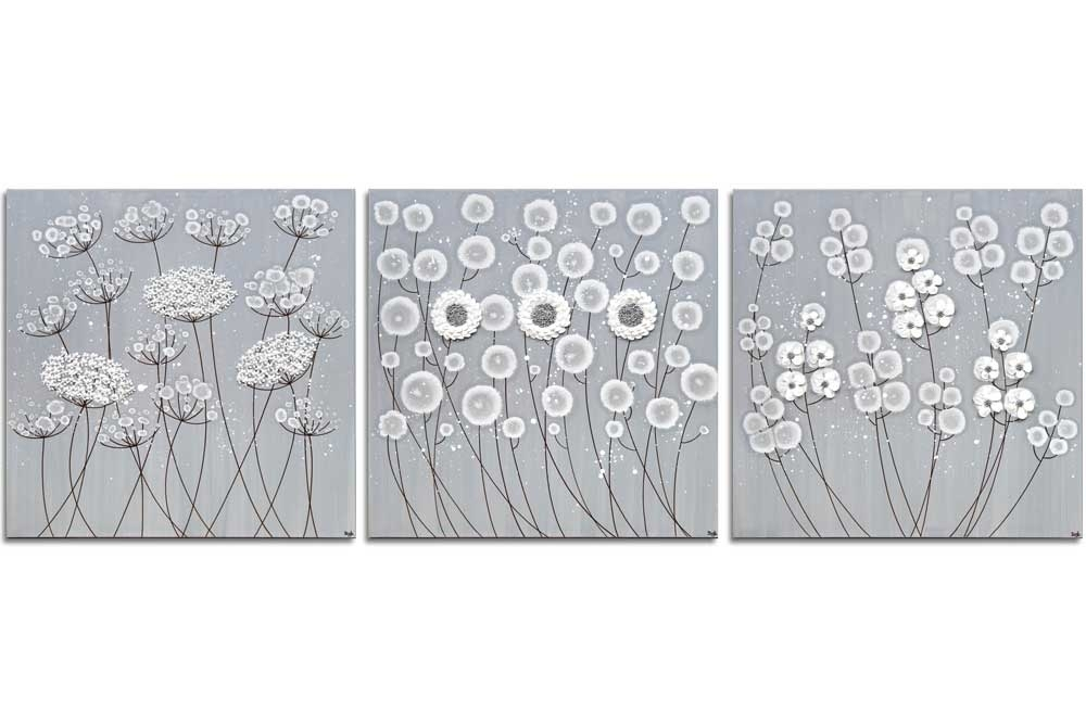 3 Piece Wall Art Flowers In Neutral Gray White – Extra Large | Amborela Intended For Grey And White Wall Art (Photo 1 of 25)