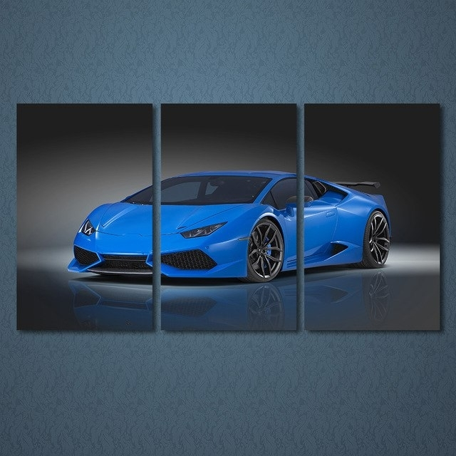 3 Pieces Blue Roadster Car Wall Art Canvas Pictures For Living Room For Car Canvas Wall Art (Photo 20 of 25)