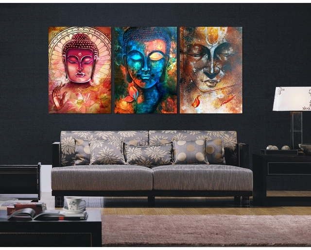 3 Pieces Buddha Image Portrait Art Painting Canvas Wall Art Picture Regarding Living Room Painting Wall Art (Photo 1 of 25)