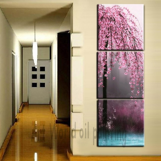 3 Pieces Canvas Wall Art Canvas Painting Vertical Peach Tree Within Vertical Wall Art (Photo 1 of 20)