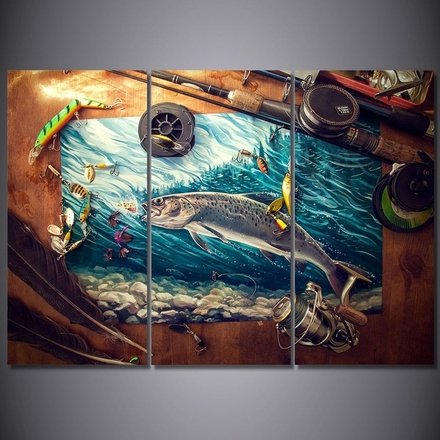 3 Pieces Fishing Rod Tuna Blue Ocean Wall Art Canvas Pictures For Throughout Ocean Wall Art (Image 4 of 25)
