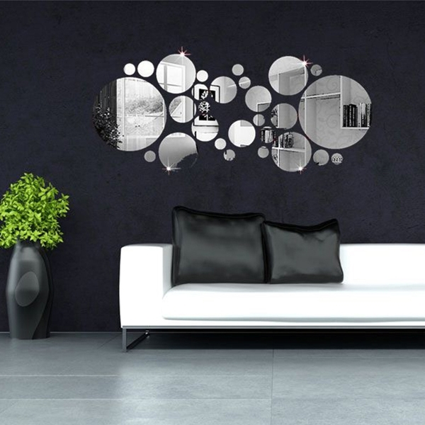 30Pcs 3D Circle Mirror Wall Stickers Acrylic Vinyl Decal Home Art In Mirror Wall Art (Image 1 of 10)