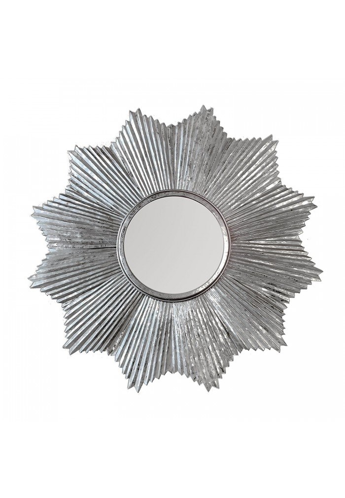 "32"" Decorshore Starburst Wall Mirror In Antiqued Silver, Galvanized with regard to Starburst Wall Art"
