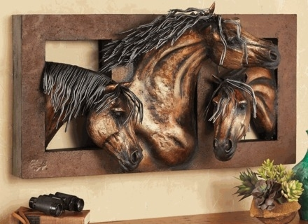 35 Wall Art Horses, Rustic Metal Horse With Chain Mane In Horses Wall Art (Image 1 of 20)