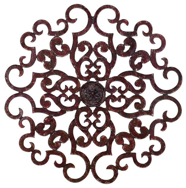 "38"" Large Brown Scroll Wall Medallion, Round Art Metal Iron Swirl Pertaining To Metal Scroll Wall Art (View 2 of 20)"
