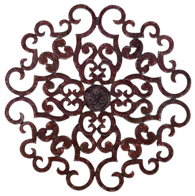 "38"" Large Brown Scroll Wall Medallion, Round Art Metal Iron Swirl Pertaining To Metal Scroll Wall Art (Image 1 of 20)"