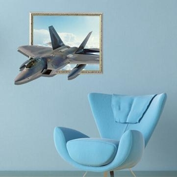 3D Aircraft Wall Decals Sky Wall Art Stickers 27 Inch Removable Home Within Airplane Wall Art (Image 1 of 20)
