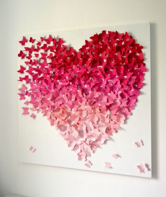 3D Butterfly Heart Wall Art – Small Pink Ombre / Nursery Decor Throughout Pink Wall Art (View 18 of 25)