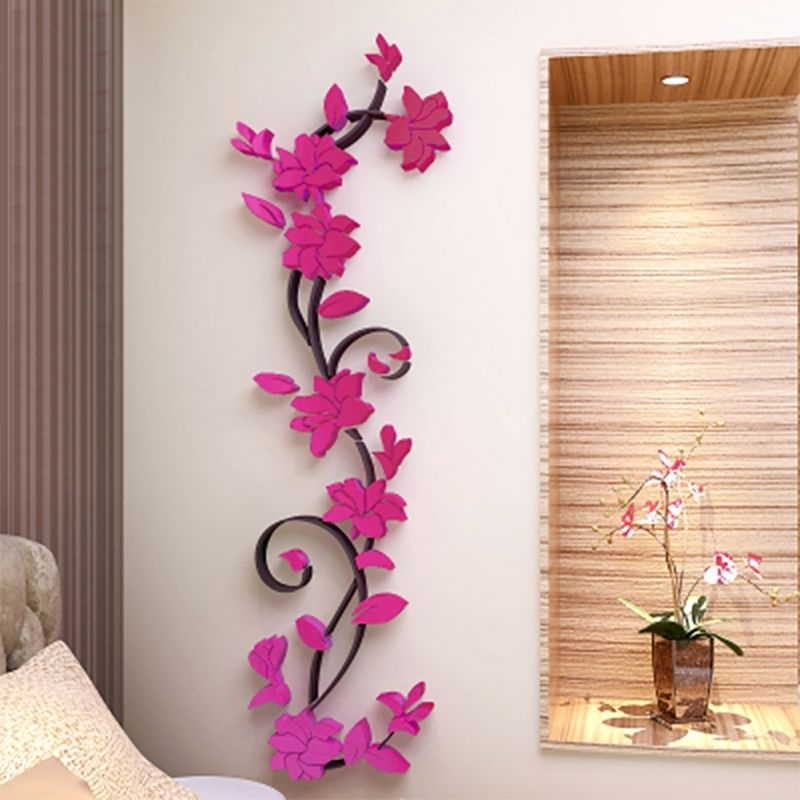 3D Flower Beautiful Diy Mirror Wall Decals Stickers Art Home Room Within Home Decor Wall Art (Photo 9 of 20)