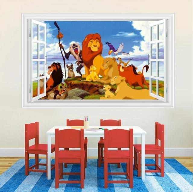 3D Lion King Wall Stickers Decals Decor Kids Room Poster Wallpaper With Regard To Lion King Wall Art (View 10 of 25)