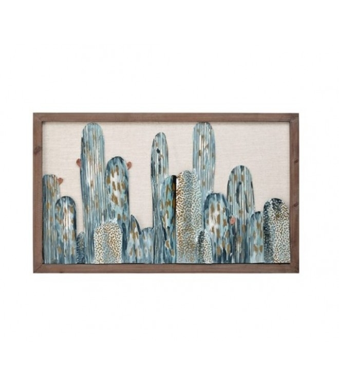 3D Metal Cactus Wall Art Wood Frame with regard to Cactus Wall Art