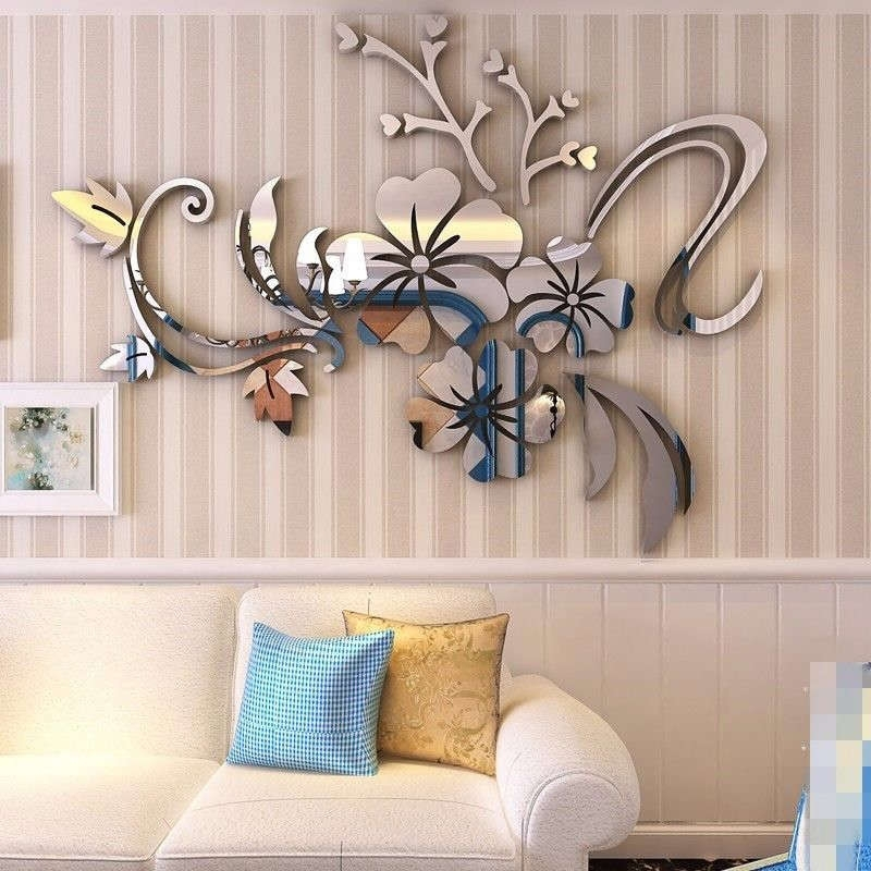 3D Mirror Flower Art Removable Wall Sticker Acrylic Mural Decal Home Pertaining To Acrylic Wall Art (Image 2 of 25)