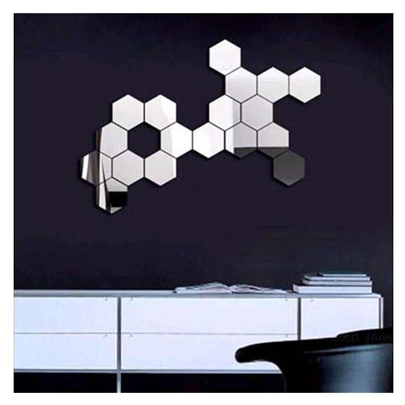 3D Modern Mirror Geometric Hexagon Acrylic Wall Sticker Art Diy throughout Mirror Wall Art