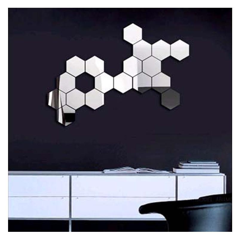 3D Modern Mirror Geometric Hexagon Acrylic Wall Sticker Art Diy with Mirrored Wall Art