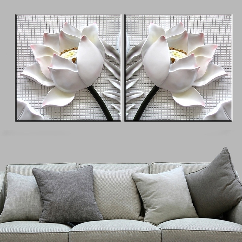 3D White Lotus Flowers  Modern Canvas Art Wall Decor Floral Canvas Regarding Floral Wall Art (Photo 19 of 20)