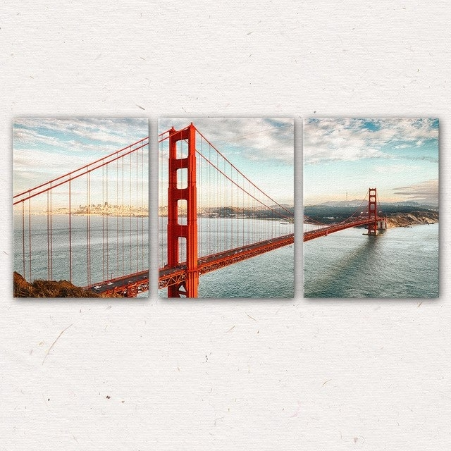 3Pcs/set San Francisco Golden Gate Bridge Wall Art Painting Canvas Inside San Francisco Wall Art (Image 3 of 25)