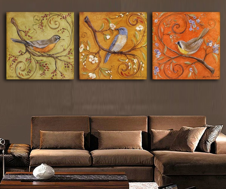 3Piece Abstract Birds Antique Paintings Printed Oil Painting Modern For Bird Framed Canvas Wall Art (Photo 6 of 25)