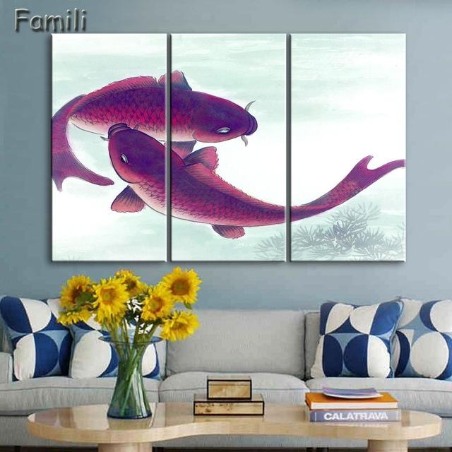 3Piece Koi Fish Wall Art Chinese Painting Wall Art On Canvas Home Inside Fish Painting Wall Art (Photo 4 of 25)