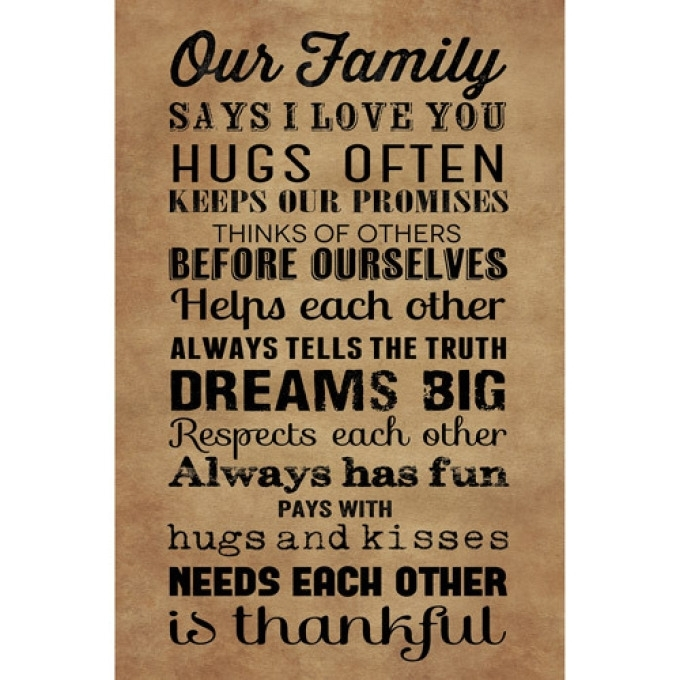 4 Large Family Rules Canvas Wall Art, Christmas Gift Custom Family pertaining to Family Rules Wall Art