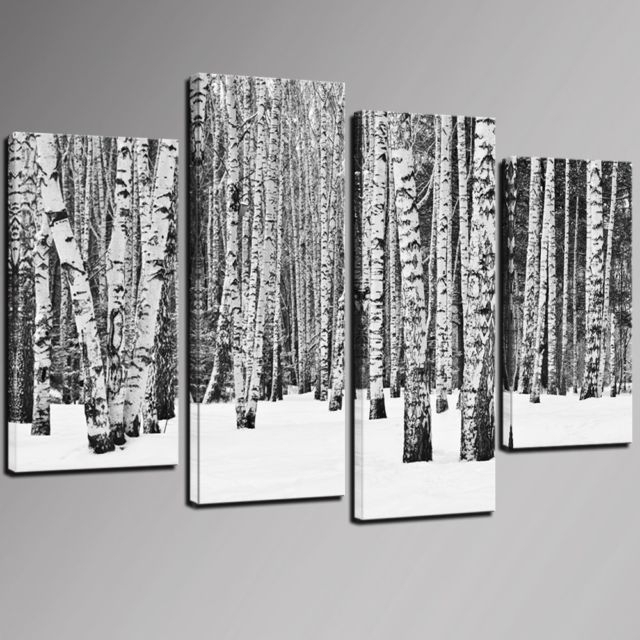 4 Panel Birch Tree Wall Art Black And White Forest Pictures Print On Throughout Birch Tree Wall Art (Photo 1 of 25)