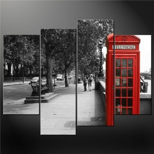 4 Panel Black White And Red Phone Booth London Wall Art Cascade In London Wall Art (View 4 of 25)