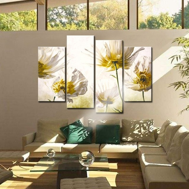 4 Panel Flowers Painting For Wall Art Decor Modern Flower Poster Within Modern Wall Art Decors (View 11 of 25)
