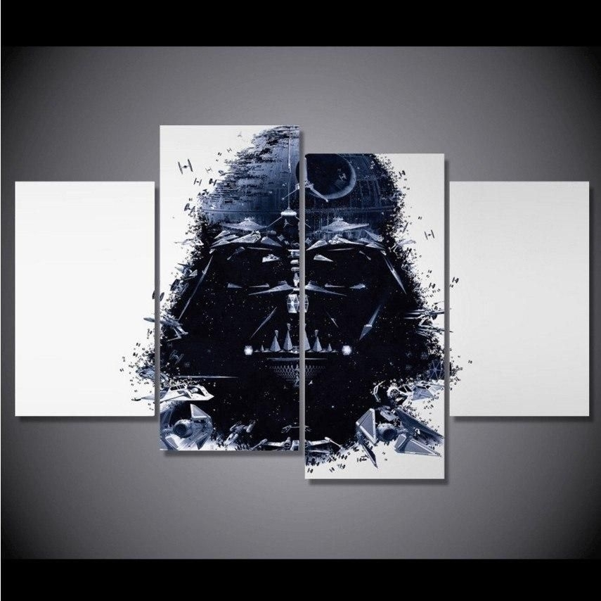 4 Panel Star Wars Darth Vader Canvas Painting | Star Wars Darth In Darth Vader Wall Art (Image 1 of 25)