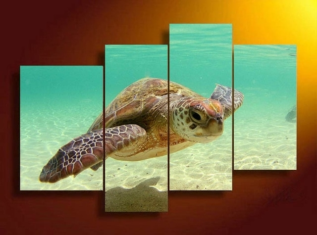 4 Panels Sea Turtle Hd Swim In Sea Bottom Canvas Print Painting For With Regard To Sea Turtle Canvas Wall Art (View 3 of 25)