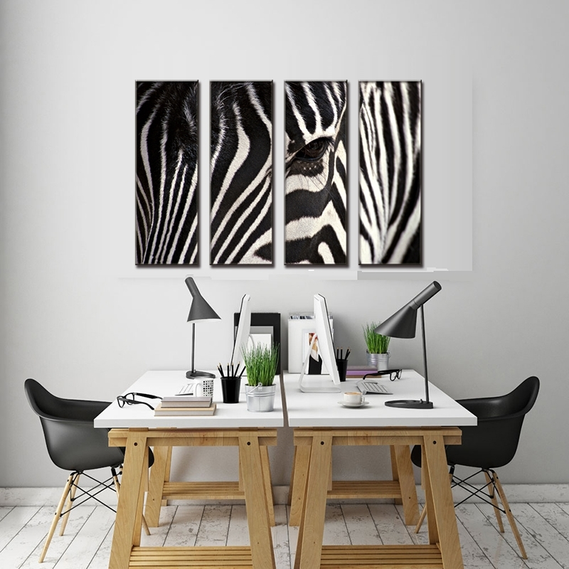 4 Pcs/set Animal Face Of Zebra Canvas Prints Painting Modern Black For Zebra Canvas Wall Art (View 21 of 25)