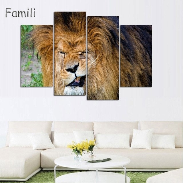 4 Piece Animals Lion Canvas Painting Modern Hanging Art Lion King With Regard To Lion King Wall Art (View 18 of 25)