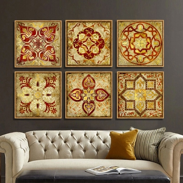 4 Piece Canvas Art Moroccan Style Gold National Decoration Pattern Regarding Moroccan Wall Art (Photo 4 of 25)