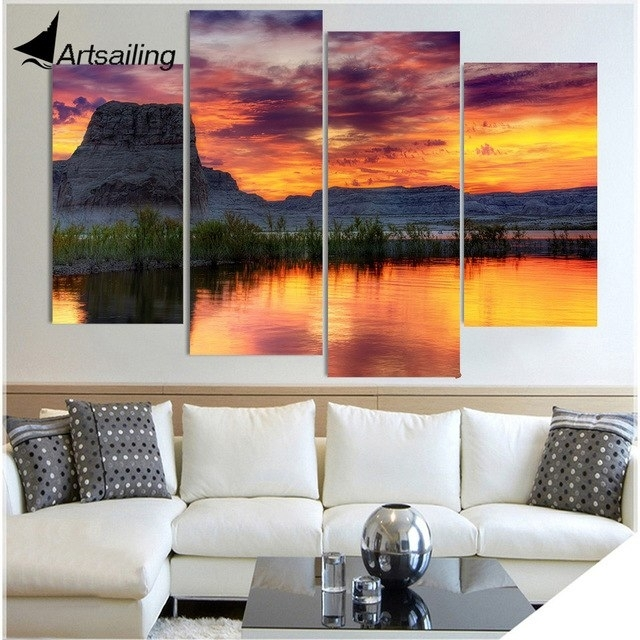 4 Piece Canvas Painting Arizona Lake Rock Hd Printed Canvas Art Regarding Arizona Wall Art (Image 1 of 25)