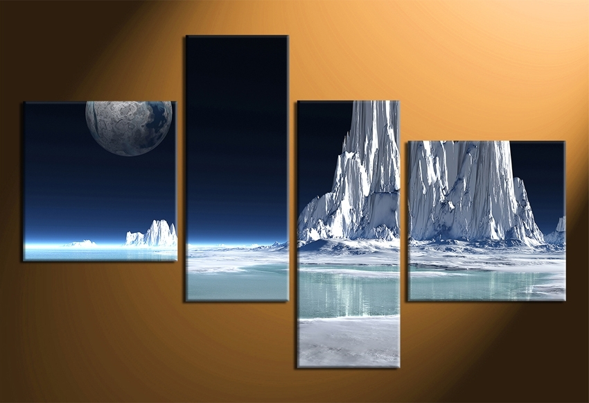 4 Piece Canvas Wall Decor, Snowy Mountain Multi Panel Art – Super Tech Regarding Multi Panel Wall Art (View 10 of 10)