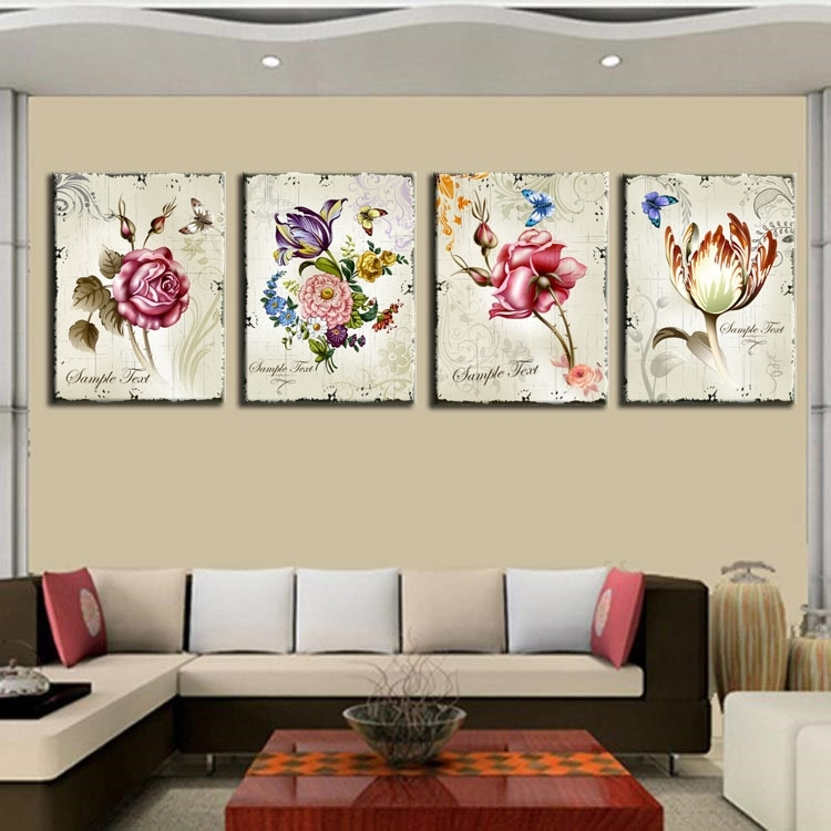 4 Pieces Classic Floral Canvas Painting Flower New Art Modular In Floral Canvas Wall Art (Photo 9 of 25)