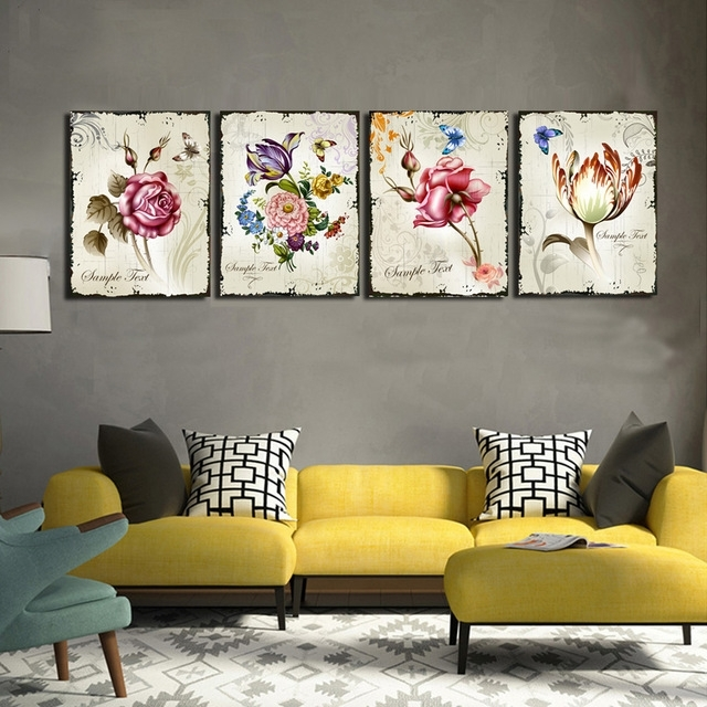 4 Pieces Classic Floral Wall Art Canvas Prints Flower Combination Regarding Floral Wall Art (Photo 1 of 20)