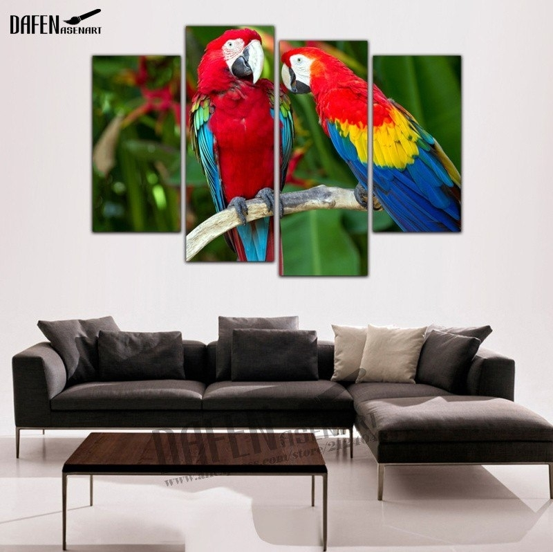 4 Pieces Modern Wall Art Framed Canvas Prints Couple Parrot Inside Bird Framed Canvas Wall Art (Image 4 of 25)
