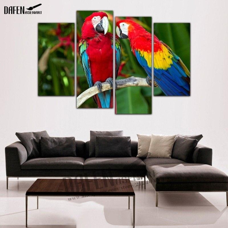 4 Pieces Modern Wall Art Framed Canvas Prints Couple Parrot inside Bird Framed Canvas Wall Art