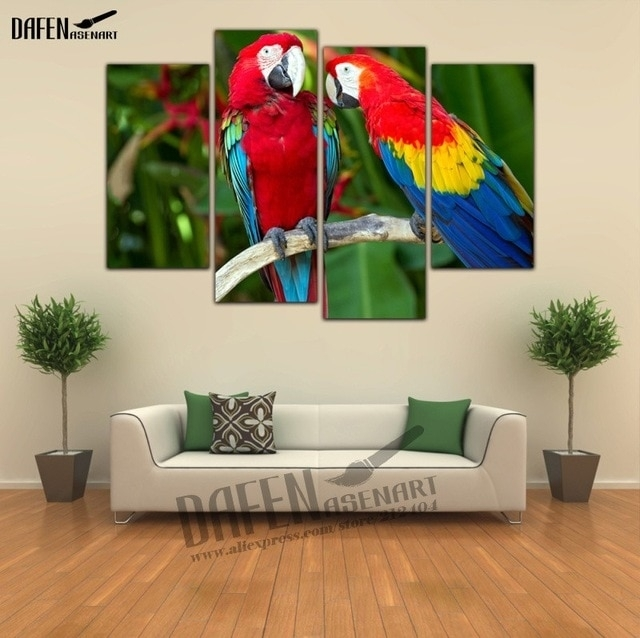 4 Pieces Modern Wall Art Framed Canvas Prints Couple Parrot Intended For Bird Framed Canvas Wall Art (Photo 7 of 25)