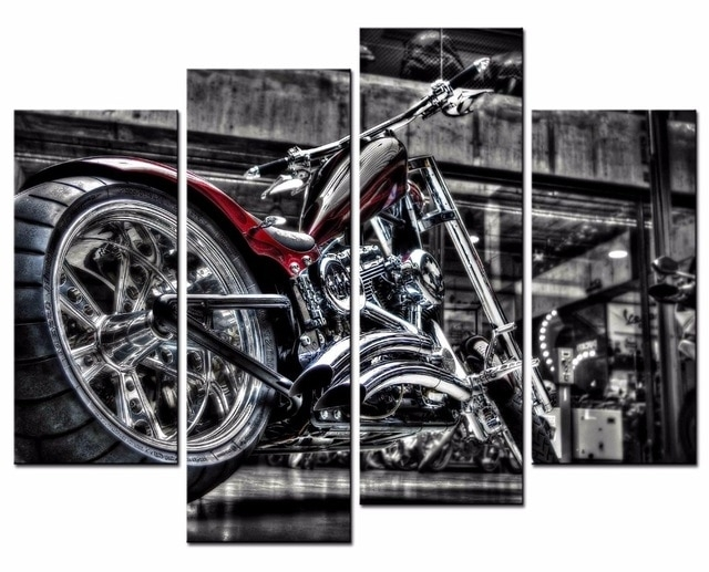 4 Pieces Motorcycle Wall Art Picture Home Decoration Living Room Within Motorcycle Wall Art (View 17 of 25)