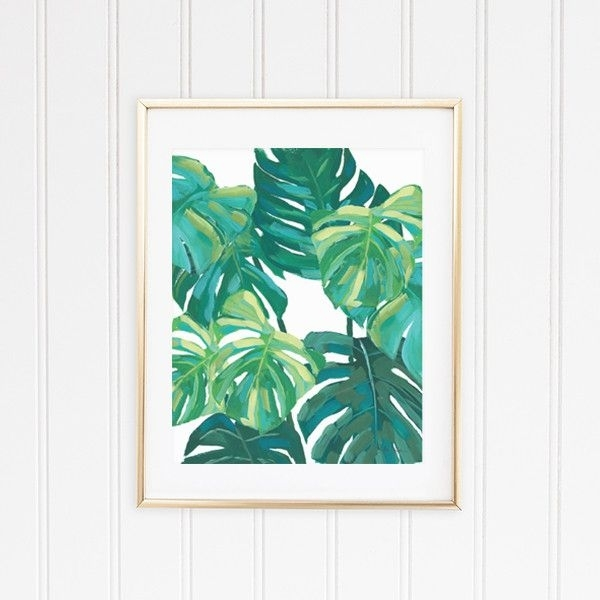 4 Tropical Wall Art Leaf Prints – Banana, Palm, Monstera, And Fern Intended For Tropical Wall Art (Photo 3 of 20)