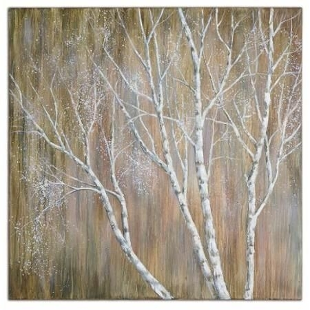 "40"" Hand Painted Budding Birch Tree Unframed Stretched Canvas Wall With Regard To Birch Tree Wall Art (Photo 3 of 25)"