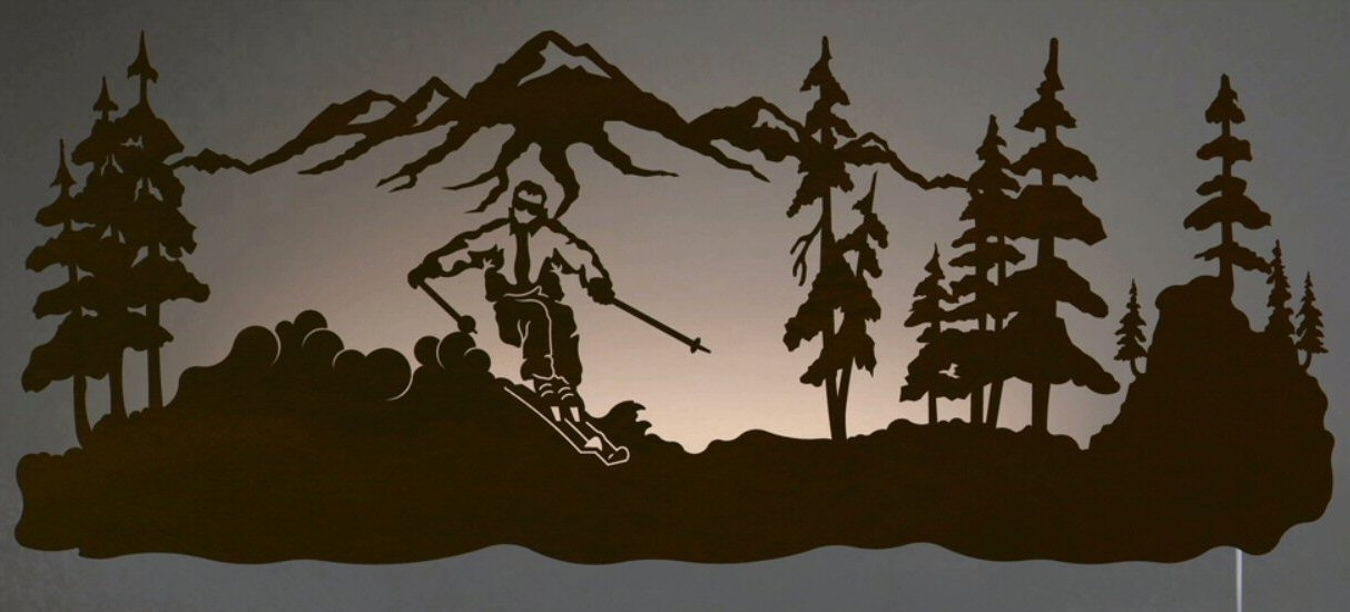 "42"" Skier Led Back Lit Lighted Metal Wall Art - Wall Decor inside Lighted Wall Art"