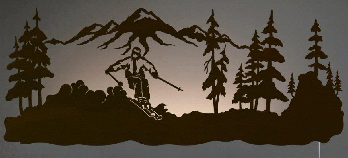 "42"" Skier Led Back Lit Lighted Metal Wall Art - Wall Decor inside Lighted Wall Art"