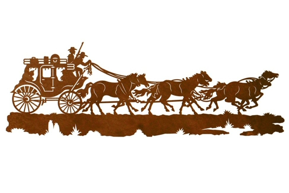 "42"" Stagecoach With Horses Metal Wall Art – Western Wall Decor Inside Western Wall Art (Image 1 of 25)"