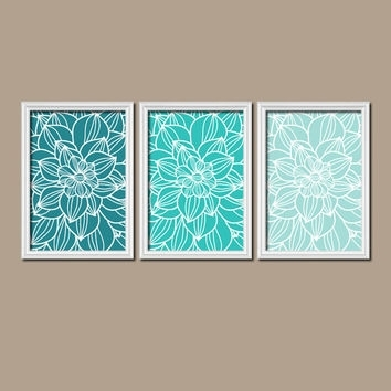 43 Teal Wall Art, Teal Bathroom Wall Art Daisy Flowers Teal Gray in Turquoise Wall Art