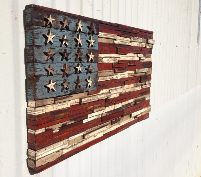 44 Rustic American Flag Wall Art, Black And Wood American Flag Home For Vintage American Flag Wall Art (Photo 11 of 25)