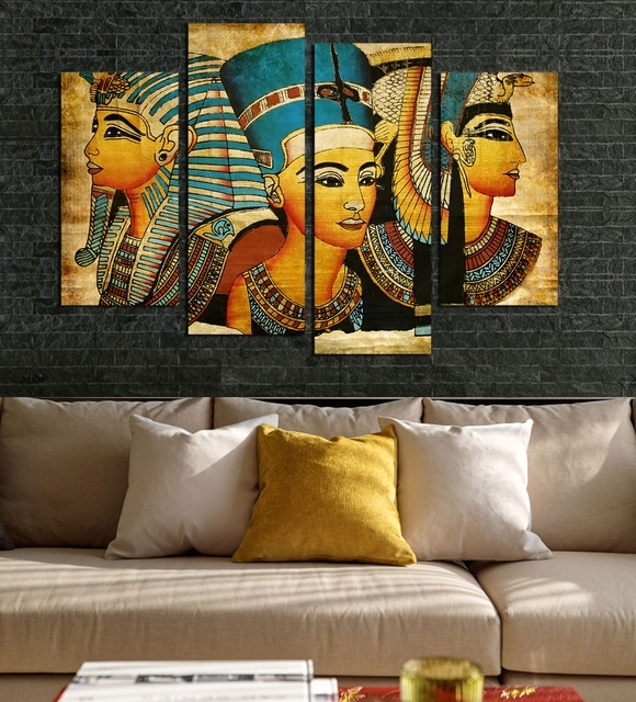 4Pcs Egyptian Pharaoh For Living Room Painted Modern Abstract For Living Room Painting Wall Art (View 11 of 25)