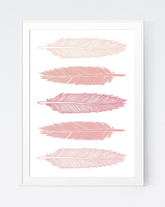 5 Feathers Coral Wall Art, Pink Peach Feathers Print, Pastel Wall For Pink Wall Art (Photo 23 of 25)