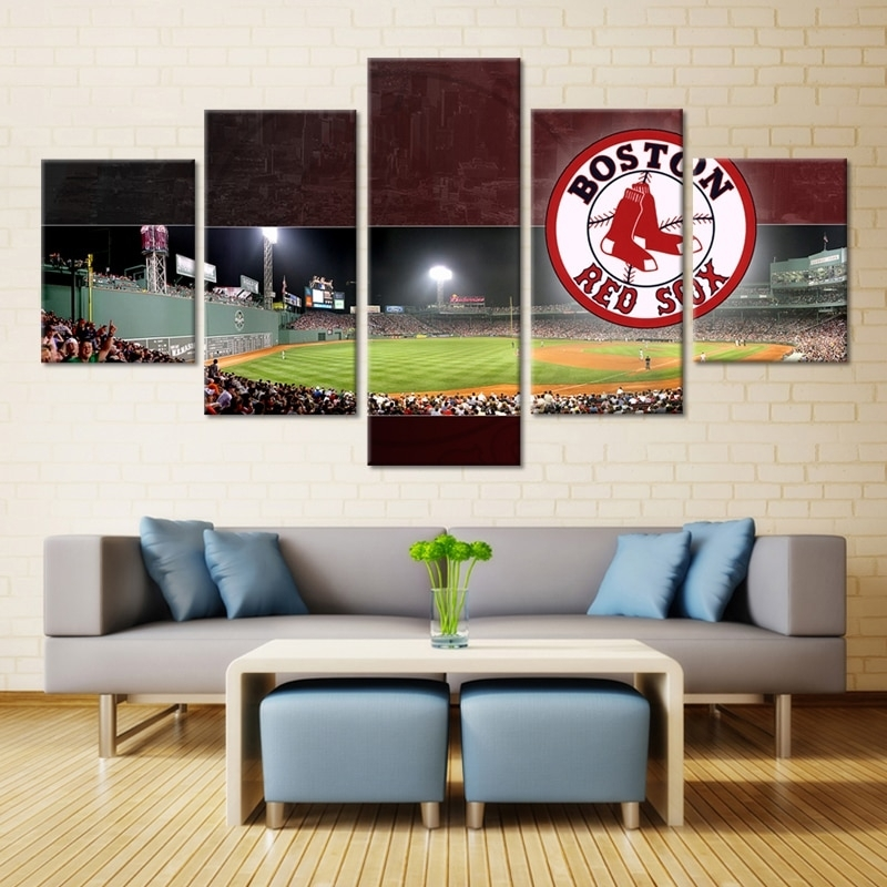 5 P Boston Red Sox Stadium Modern Home Wall Decor Painting Canvas Regarding Boston Wall Art (Image 4 of 25)