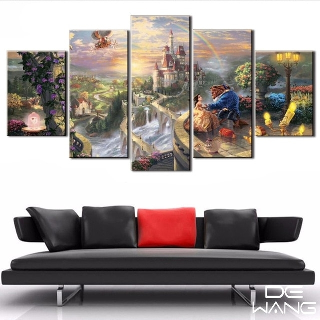 5 Panel Canvas Art Unframed Wall Art Picture Fairy Tale Beauty And With 5 Panel Wall Art (Image 6 of 25)